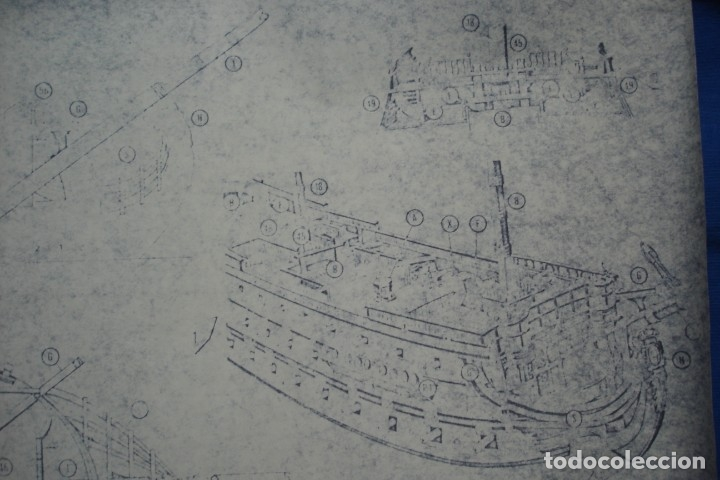 Coleccionismo Recortables: ANTIGUO PLANO DESPIECE DE LA MAQUETA DEL BARCO SAN FELIPE 1690 - Foto 5 - 182591278