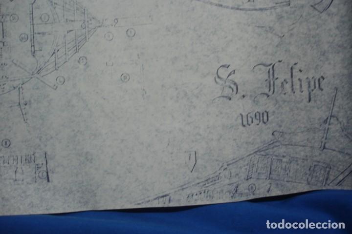 Coleccionismo Recortables: ANTIGUO PLANO DESPIECE DE LA MAQUETA DEL BARCO SAN FELIPE 1690 - Foto 6 - 182591278