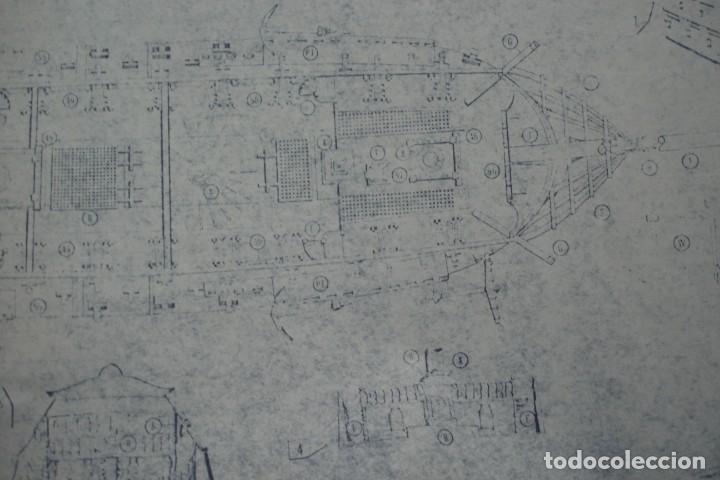 Coleccionismo Recortables: ANTIGUO PLANO DESPIECE DE LA MAQUETA DEL BARCO SAN FELIPE 1690 - Foto 7 - 182591278