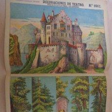 Coleccionismo Recortables: RECORTABLES PALUZIE Nº 1062. DECORACIONES DE TEATRO. FONDO DE UN CASTILLO FEUDAL Y SUS BASTIDORES. Lote 189587402