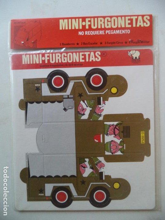 TROQUELADOS MINIFURGONETAS:BOMBEROS BUS ESCOLARFURGO CIRCO MILITAR (Coleccionismo - Recortables - Construcciones)