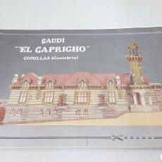 Coleccionismo Recortables: GAUDI, EL CAPRICHO COMILLAS EN CANTABRIA LIBRO SIN RECORTABLE CON PLANOS. Lote 192795221