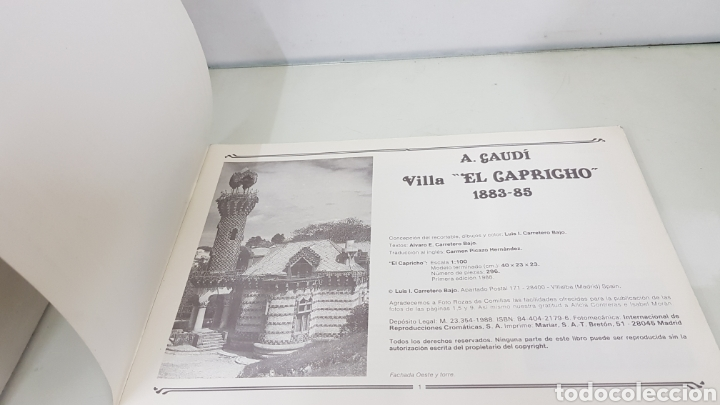 Coleccionismo Recortables: Gaudi EL CAPRICHO Comillas cantabria recortable medida libro 31x21,5cms - Foto 2 - 192796055