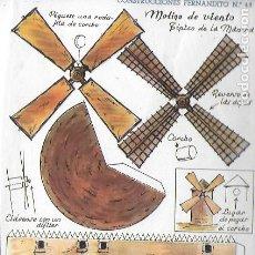 Coleccionismo Recortables: CONSTRUCCIONES FERNANDITO Nº 48. MOLINO DE VIENTO TÍPICO DE LA MANCHAEDITORIAL ROMA. 21X15 CM. . Lote 193021260