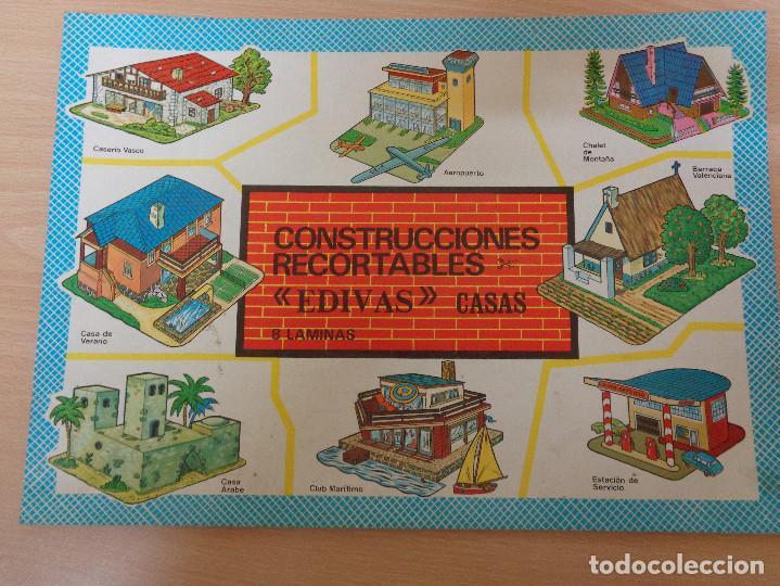 CONSTRUCCIONES RECORTABLES EDIVAS. CASAS. 8 LÁMINAS. MUY BUEN ESTADO (Coleccionismo - Recortables - Construcciones)