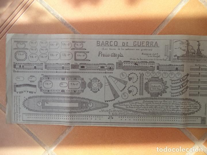 Coleccionismo Recortables: RECORTABLE BARCO DE GUERRA TORRE CAÑONES SON GIRATORIAS 50X22 CM - Foto 2 - 196882956