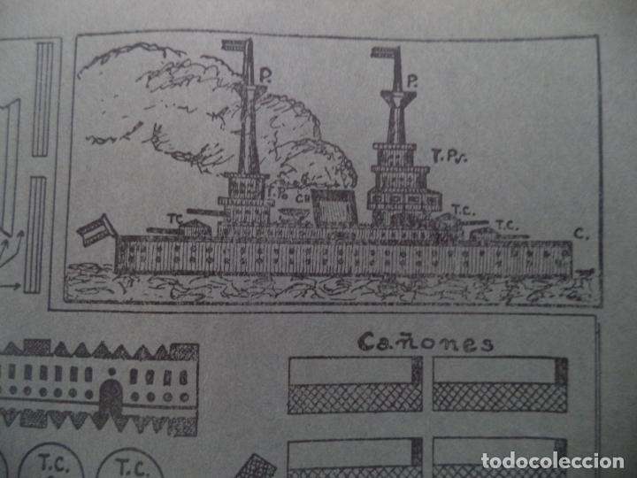 RECORTABLE BARCO DE GUERRA TORRE CAÑONES SON GIRATORIAS 50X22 CM (Coleccionismo - Recortables - Construcciones)