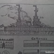 Coleccionismo Recortables: RECORTABLE BARCO DE GUERRA TORRE CAÑONES SON GIRATORIAS 50X22 CM. Lote 196882956