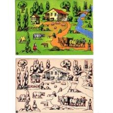 Coleccionismo Recortables: GALICIA.- 2 PANORAMAS. SERIE COLOR Y TRABAJO. SEIX BARRAL. Lote 199473372