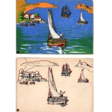 Coleccionismo Recortables: GALICIA.-( COSTAS GALLEGAS). 2 PANORAMAS. SERIE COLOR Y TRABAJO. SEIX BARRAL. Lote 199474370