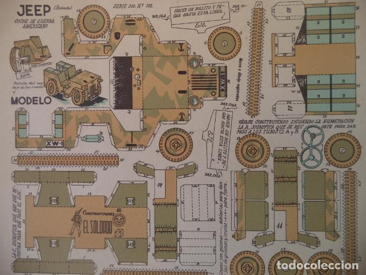 RECORTABLES EL SOLDADO SERIE 200 Nº 201 COCHE DE GUERRA AMERICANO 27X21,5 CM (Coleccionismo - Recortables - Construcciones)