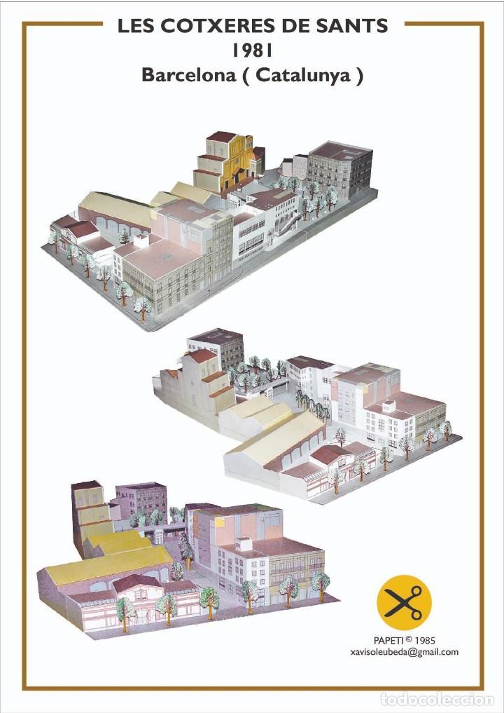 MAQUETA RECORTABLE DE COTXERES DE SANTS ( BARCELONA) (Coleccionismo - Recortables - Construcciones)