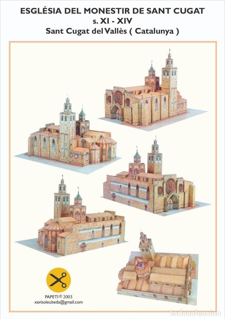 MAQUETA RECORTABLE DE LA IGLESIA DEL MONASTERIO DE SANT CUGAT DEL VALLÈS ( CATALUNYA) (Coleccionismo - Recortables - Construcciones)