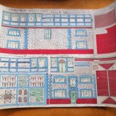 Colecionismo Recortáveis: CONSTRUCCIONES MG, CASA DE MUÑECAS E:1/40. MARIANO GELLA, ZARAGOZA CA 1940, 65X50 CM.. Lote 233489325