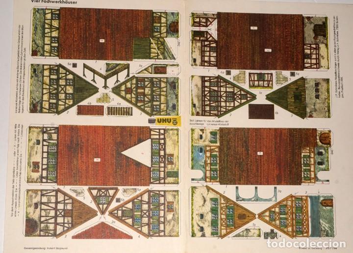 Coleccionismo Recortables: MAQUETA RECORTABLE DE 4 CASAS CON ESTRUCTURA DE MADERA (ALEMANIA ) - Foto 2 - 238313260