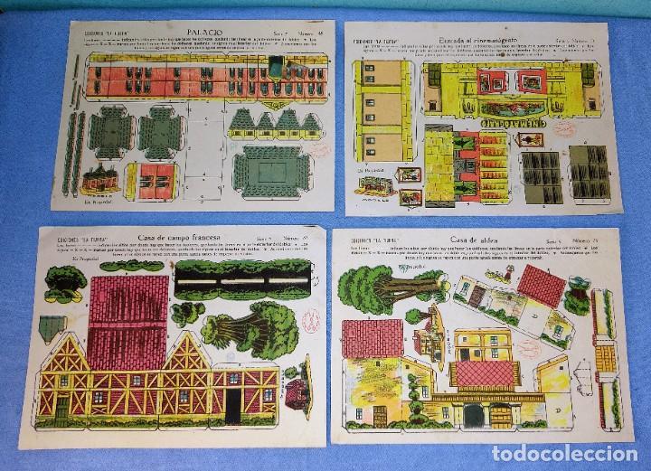 ANTIGUO LOTE DE 4 RECORTABLES DE EDICIONES LA TIJERA 4 MODELOS DISTINTOS ORIGINALES (Coleccionismo - Recortables - Construcciones)
