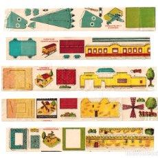 Coleccionismo Recortables: LOTE DE 5 CROMOS RECORTABLES CARAMELO CONSTRUCCIONES EN MINIATURA. AÑOS 60. Lote 285552568