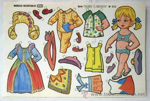 Coleccionismo Recortables: Recortables Boga 10 hojas serie Mary Carmen Nº 511 - 520 años 70 32 cm x 21 cm - Foto 3 - 61471754