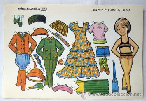 Coleccionismo Recortables: Recortables Boga 10 hojas serie Mary Carmen Nº 511 - 520 años 70 32 cm x 21 cm - Foto 6 - 61471754