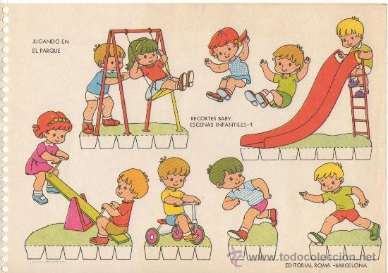 LAMINA RECORTABLE RECORTES BABY ESCENAS INFANTILES Nº 1 JUGANDO EN EL PARQUE ED. ROMA (Coleccionismo - Recortables - Muñecas)