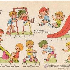 Coleccionismo Recortables: LAMINA RECORTABLE RECORTES BABY ESCENAS INFANTILES Nº 1 JUGANDO EN EL PARQUE ED. ROMA. Lote 34279841
