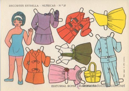 LAMINA RECORTABLE MUÑECA EDITORIAL ROMA RECORTES ESTRELLA Nº 27 (Coleccionismo - Recortables - Muñecas)
