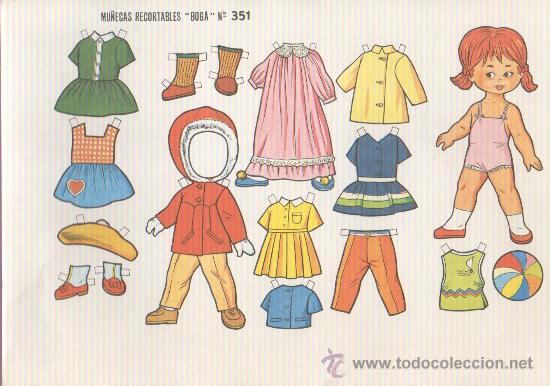 LAMINA RECORTABLE MUÑECA BOGA Nº 351 (Coleccionismo - Recortables - Muñecas)