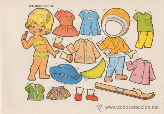 LAMINA RECORTABLE MUÑECA BOGA Nº 353 (Coleccionismo - Recortables - Muñecas)