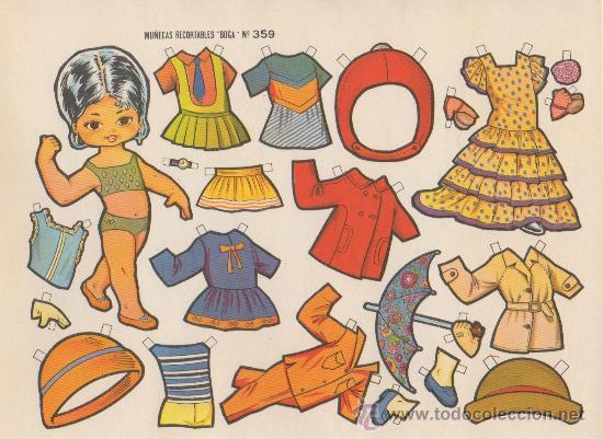 LAMINA RECORTABLE MUÑECA BOGA Nº 359 NIÑA ROPA MODA VESTIDO INFANTIL JUEGO JUGUETE (Coleccionismo - Recortables - Muñecas)