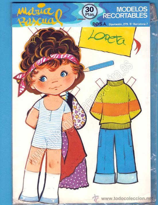 MODELOS RECORTABLES MUÑECAS TROQUELADAS DE MARÍA PASCUAL 1983 LORETA (Coleccionismo - Recortables - Muñecas)