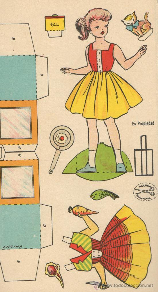 Coleccionismo Recortables: RECORTABLE CASA DE MUÑECAS ¿QUIERES VER MI COCINA? MUÑECA JUGUETE ED. LA TIJERA 1962 IL. SABATES - Foto 4 - 26198896