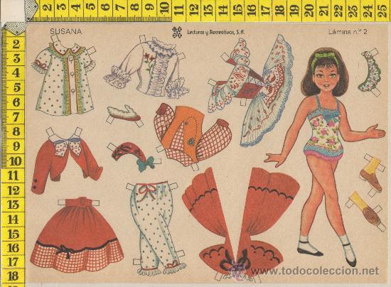 LAMINA RECORTABLE MUÑECA SUSANA MODA VESTIDOS NIÑA RECORTABLES INFANTIL JUGUETE ED. LEYRE (Coleccionismo - Recortables - Muñecas)