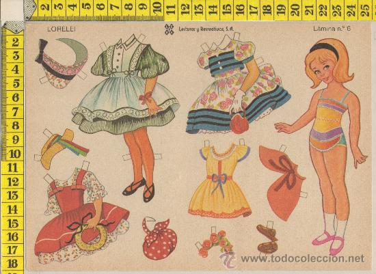 LAMINA RECORTABLE MUÑECA LORELEI MODA VESTIDOS NIÑA RECORTABLES INFANTIL JUGUETE ED. LEYRE (Coleccionismo - Recortables - Muñecas)