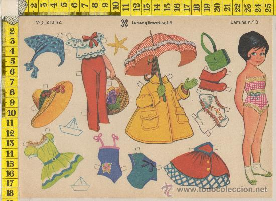LAMINA RECORTABLE DE MUÑECA YOLANDA MODA VESTIDOS NIÑA RECORTABLES INFANTIL JUGUETE ED. LEYRE (Coleccionismo - Recortables - Muñecas)