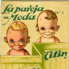 Coleccionismo Recortables: RECORTABLE AÑOS 20/30.- TITINA Y TITIN, 2 MUÑECOS TROQUELADOS EN CARTÓN, ALTURA 20 CM., IMPRESOS... . Lote 28809642