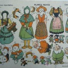 Coleccionismo Recortables: MUÑECAS RECORTABLES: BLANCA NIEVES.- EDICIONES T.B.O. Nº 6. TAMAÑO 33 X 21,5 CM.. Lote 29320893
