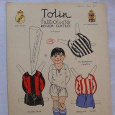 Coleccionismo Recortables: RECORTABLE LA TIJERA SERIE 10.TOLIN FUTBOLISTA.REGION CENTRO. Lote 32189493