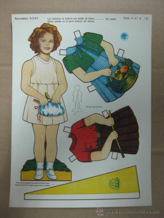 RECORTABLE BABY - SHIRLEY TEMPLE, AÑOS 40, SERIE A, Nº 6-P (Coleccionismo - Recortables - Muñecas)