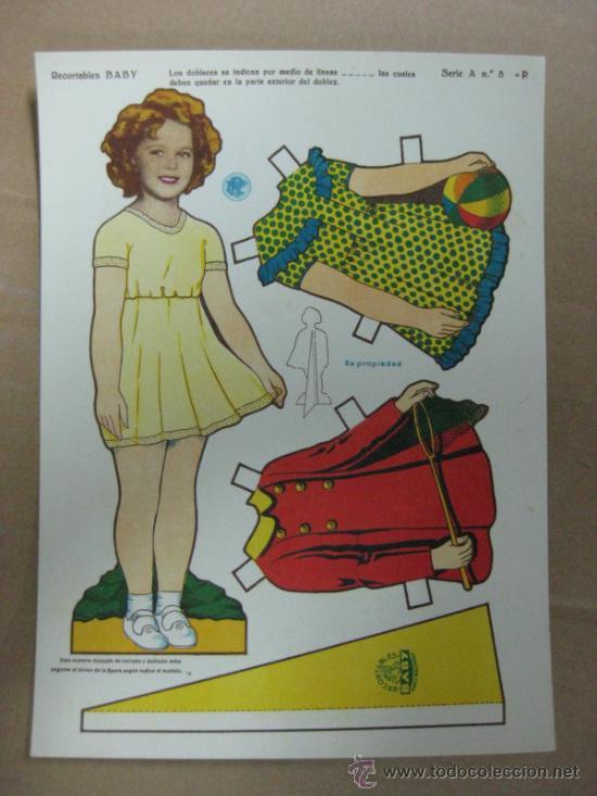 RECORTABLE BABY - SHIRLEY TEMPLE, AÑOS 40, SERIE A, Nº 5-P (Coleccionismo - Recortables - Muñecas)