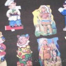 Coleccionismo Recortables: LOTE DE 40 RECORTABLES YA RECORTADOS.VARIOSMUÑECAS,ANIMALES,INDIOS,CAWBOYS ETC. Lote 36543876