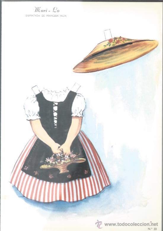 RECORTABLE DE LOS AÑOS 60 - MARI -LO - DISFRAZADA DE FRANCESA - (Coleccionismo - Recortables - Muñecas)