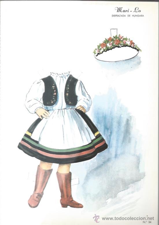 RECORTABLE DE LOS AÑOS 60 - MARI -LO - DISFRAZADA DE HUNGARA - (Coleccionismo - Recortables - Muñecas)