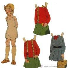 Coleccionismo Recortables: MUÑECA RECORTABLE ELOIS Y TRES VESTIDOS DISTINTOS. 19 CM. AÑOS 40. Lote 37916704