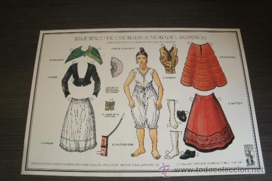 CARTEL RECORTABLE CON EL TRAJE REGIONAL TÍPICO DE CANDELARIA - PUEBLO DE CANDELARIO (SALAMANCA) - (Coleccionismo - Recortables - Muñecas)