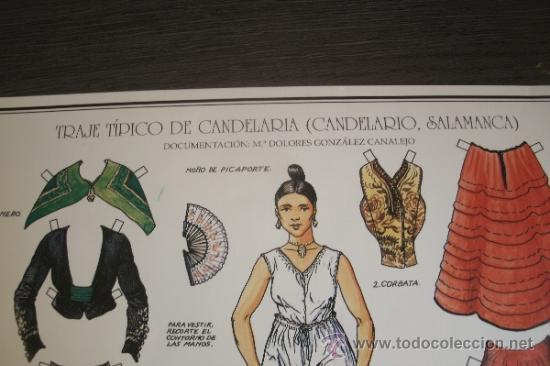 Coleccionismo Recortables: CARTEL RECORTABLE CON EL TRAJE REGIONAL TÍPICO DE CANDELARIA - PUEBLO DE CANDELARIO (SALAMANCA) - - Foto 5 - 38168254