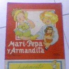 Coleccionismo Recortables: MARI PEPA Y ARMANDITA CUENTO REVISTA COTARELO CLARET SUPLEMENTO RECORTABLE ANTIGUO IMPORTANTE. Lote 38328657