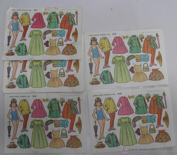 LOTE DE 20 LAMINAS MUÑECAS RECORTABLES EVA 812 (Coleccionismo - Recortables - Muñecas)