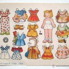 Coleccionismo Recortables: LAMINA RECORTABLES MUÑECAS BRUGUERA MODELO PAZ ILUSTRADO POR BEAUMONT 1959. Lote 41096733