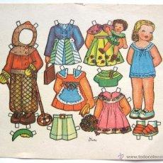 Coleccionismo Recortables: LAMINA RECORTABLES MUÑECAS DIBUJADO POR FLORES AÑOS 50. Lote 41099810