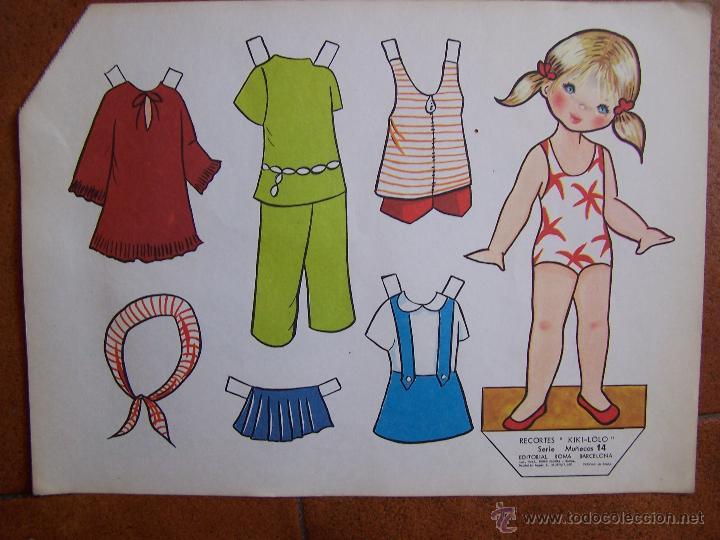 Coleccionismo Recortables: Lote de 4 Laminas recortables de muñecas, seriadas de la 13 a la 16 y fechadas 1970. D. 36 cm x 26 c - Foto 2 - 48699439